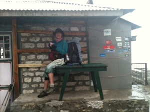 Snack stop in the rain en route to Namche Bazaar from Tangboche