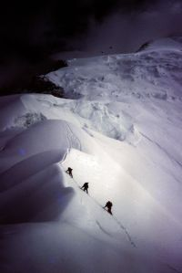 Climbing on Gasherbrum II lower slopes