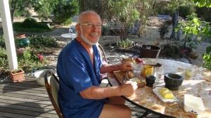 Papa having breakfast in his jammies. Natimuk,  summer 2013.