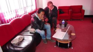 Prabin Syangbo and Eric in Binod's office at Oscar College
