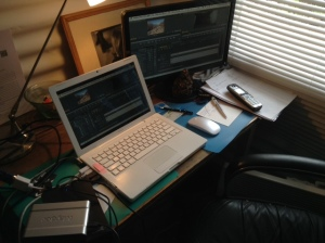 the editing suite.. a very seasonal one! Too hot in summer, too cold in winter :-)