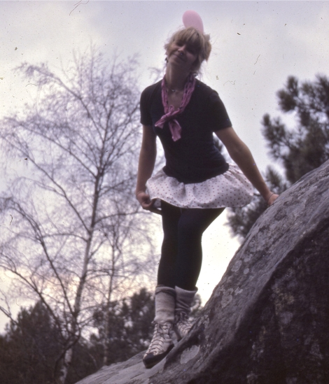 the oh so 1983 attire for bouldering at Fontainebleau